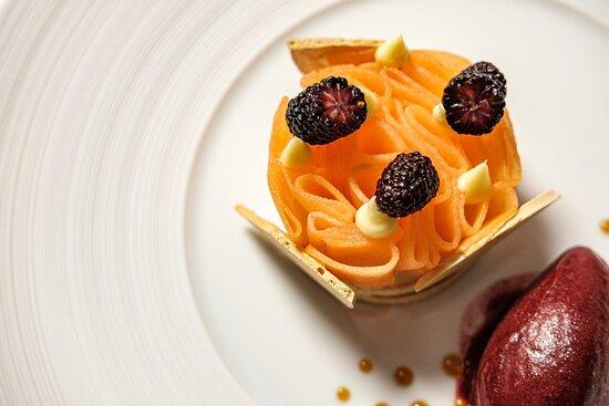 Cantaloupe Melon, Ginger Meringue, Pickled Mulberries, Blackberry Sorbet.