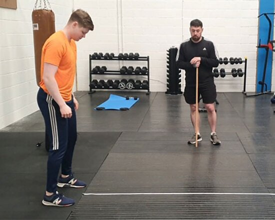 The client getting ready for his power test.