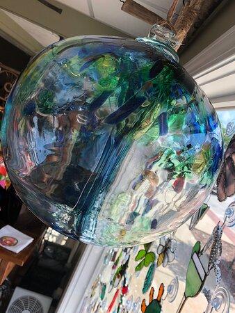 Blown glass orb.