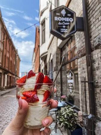 Our ice cream is imported straight from Italy to ensure our customers that they are enjoying a cup of real italian gelato with different topping options.