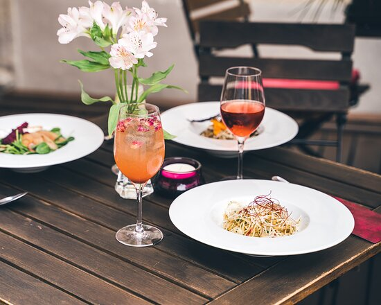 Our lovely dishes on romantic outside terrace
