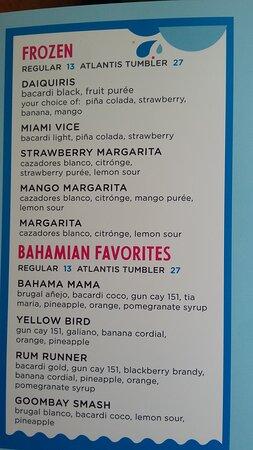 splasher snack bar drink menu