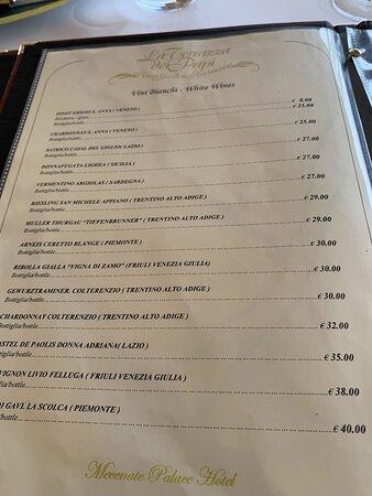 The menu of really bad food!