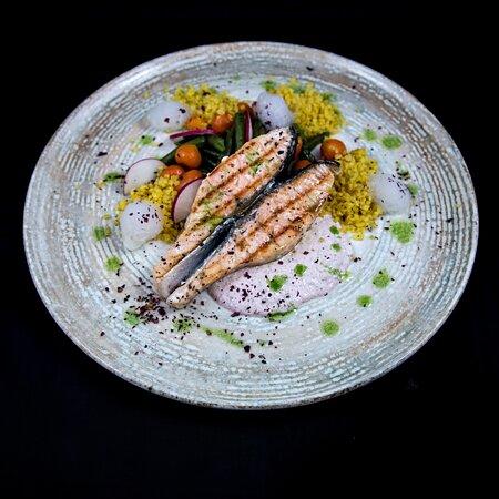 Salmon Fillet  Served with saffron bulgur, Parisienne carrots, green beans and homemade tartar sauce