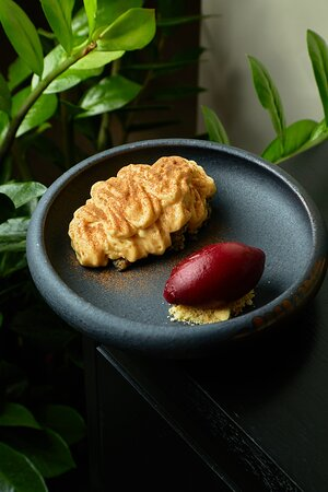 Poppy seed cake, whipped caramel, black currant sorbet