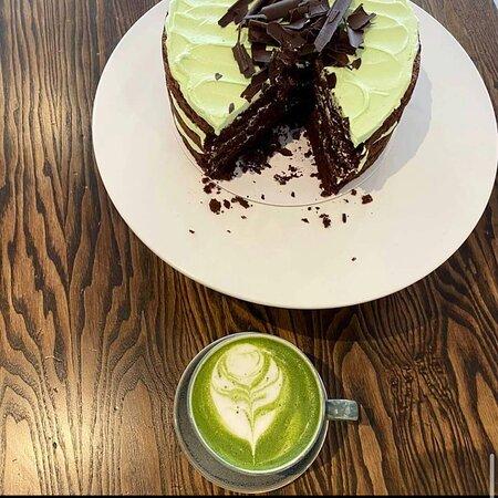 Matcha latte and a cake