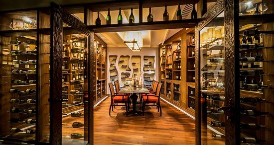 Interior view of private dining setup in Wine Cellar at Origami Japanese Restaurant