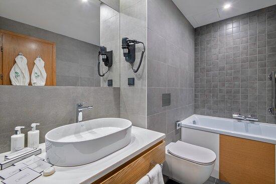 Executive Room, bathroom with bathtub and shower cabin