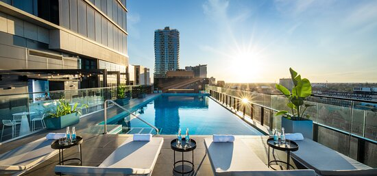 Outdoor heated pool on level 10