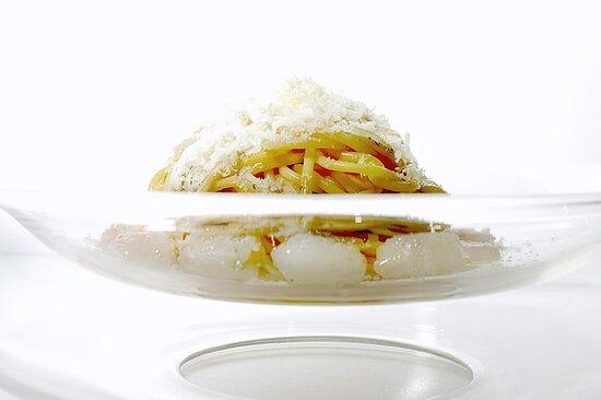 Spaghetto Tiepido al Limone, Mandorla e Scampi