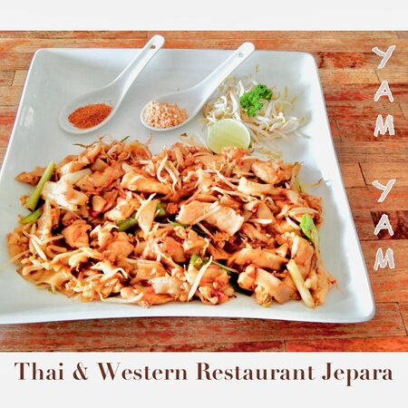 PadThai Chicken  YAM YAM Restaurant Jepara is Open Everyday!!!!!! Nonstop. Stay safe & healthy.  See you... Kiss (from faraway) All staff YAM YAM 😘