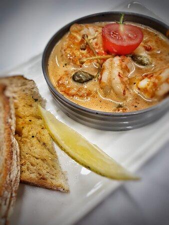 Wild Caught Atlantic Prawns  Chilli & garlic roast sweet pepper, capers, sourdough toast