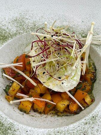 Burratta aux pêches et filet de maigre sauce mousseline et purée de courgettes