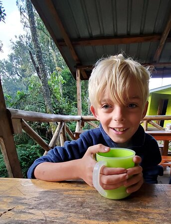 Our son enjoying hot chocolate at Sine Camp.