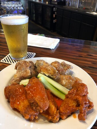 Chicken Hot Wings with 2 sauces.