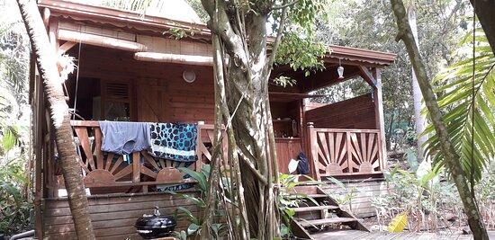 Vue extérieure de la tarrasse de notre bungalow