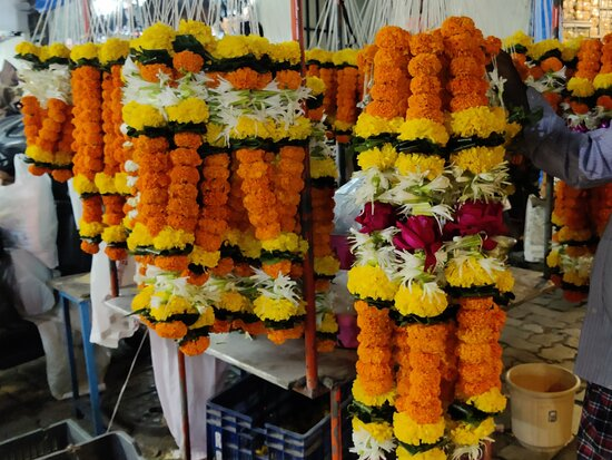 Flowers being sold near a temple in Colaba