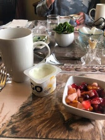 Lovely fruit salad before the hot breakfast.