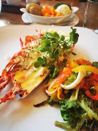 The half lobster was delicious