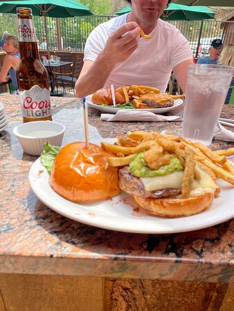 Guac and Pepper jack Bison Burger