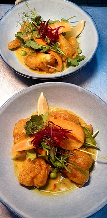 Battered Scampi Cod cheek in Curry sauce.