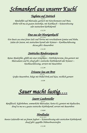 Auf der Speisekarte finden sich wöchentlich andere steirische Spezialitäten