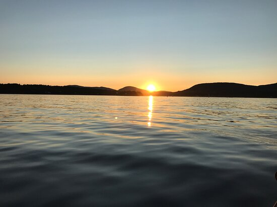 Beautiful sunset over the  mountains and Penobscot Bay