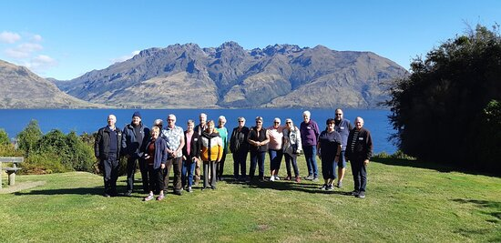 Our tour group at Lake Whakatipu on a stunning day!