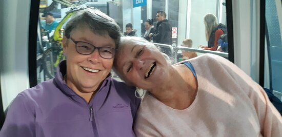 New friends - Jeanette and Jacqui sharing a laugh on the Skyline Gondola at Queenstown