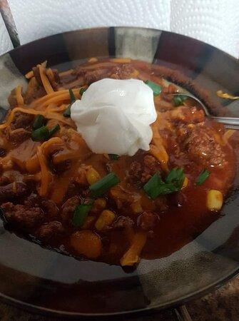 Home made chili,  chili fries, chili dogs