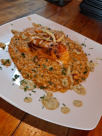 Las Palmas de Gran Canaria, Tây Ban Nha: Risotto Mare con Gambas Salmon y crema de Calabacin