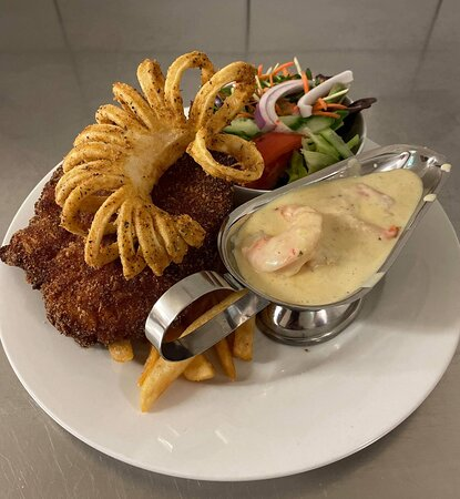 Chicken Schnitzel with Surf & Turf Topping