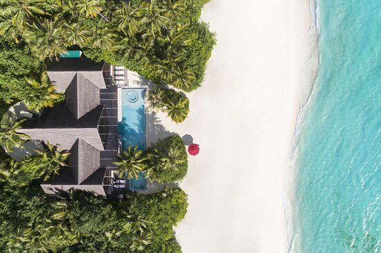 Aerial view of the three-bedroom beach pool pavilion