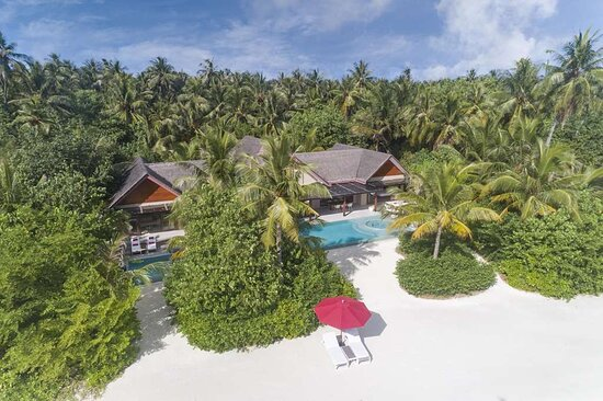 Three bedroom beach pool pavilion aerial shot with pool