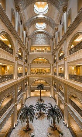 Emirates Palace Palm Trees Corridor Vertical
