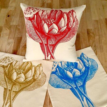 Lotus print cushion
