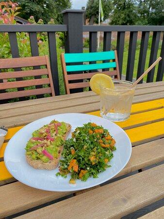 Avocado Post Toast with a side of Kale & Sweet Potato Salad.