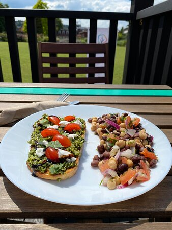 Pesto Caprese with a side of our Balela Bean Salad.