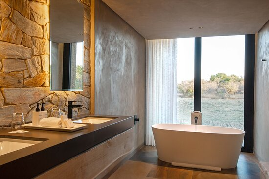 Kapama River Lodge Deluxe Suite bathroom and view