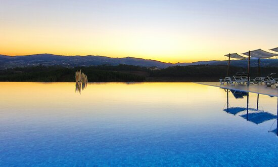Infinity pool by sunset