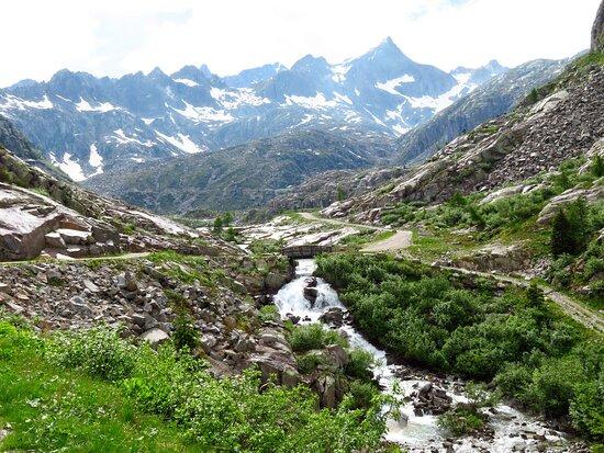 Lo scenario intorno ai laghi con sullo sfondo le montagne più orientali del gruppo della Presanella (si riconosce la cuspide della cima Cornisello e alla sua sx la cima Laghetto)