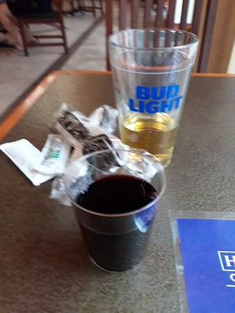 Only beer available at Social Hour is Bud Light.  I got the end of a Yellow Tail red wine.  The bottle of Chardonnay was literally frozen solid.