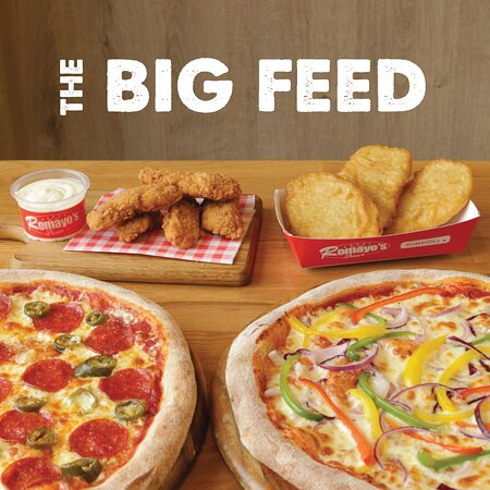 """2x Stone baked 12"""" pizza (choose 2 toppings on each), 5x Chicken goujons, 3x Potato scallops, 1x Dip sauce of your choice"""