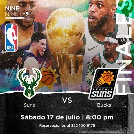 ¡Te esperamos en Nine Ninety 9! Porque este #sábado tendremos lo mejor de las #Finales de la NBA. 🏀🔥 ¡No te lo puedes perder!  Phoenix Suns 🆚 Milwaukee Bucks  📅 Sábado 17 de julio ⏰ 8:00 pm  Reservaciones al 322 100 6175