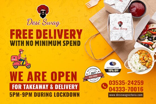 Stay safe when enjoying our food! DESI SWAG provides charge-free and contact-free food deliveries in Ararat during the lockdown and packs your pre-ordered items for carry out from 5 PM to 9 PM. 👉        Call us for deliveries or Take-Away on 📲 03535-24259, 📲 04333-70016. 👉        Come to 📌 DESI SWAG, 202-204, Barkly Street, Ararat-Vic.  👉        Order online at 🌐 https://desiswagvictoria.com/welcome/menu_order
