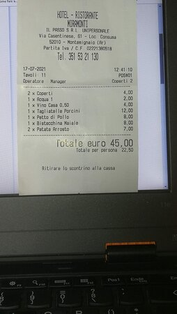 Montemignaio, Ιταλία: Questo è il conto, si  legge anche la data, 17/7/2021