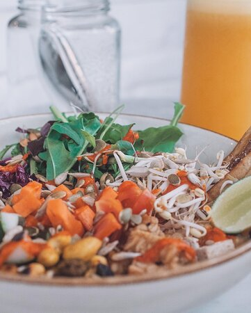 Our Buddha Bowl is filled with nutrients, nourishment and lots of flavors. It's my favorite dish on the menu and I know it's many others to.