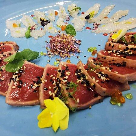 Tataki tuna, carpaccio scampi