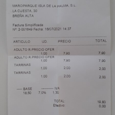 Breña Alta, España: Residents discount entry fee, plus 2 food  trays.