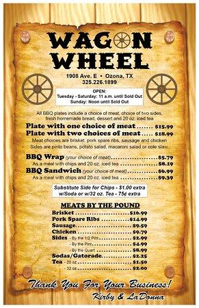 Ozona, TX: Our current menu